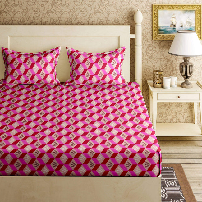 BELLA CASA FASHION BEDSHEET Orchid Double Bedsheet Set King Size 120 TC Cotton Pink Colour