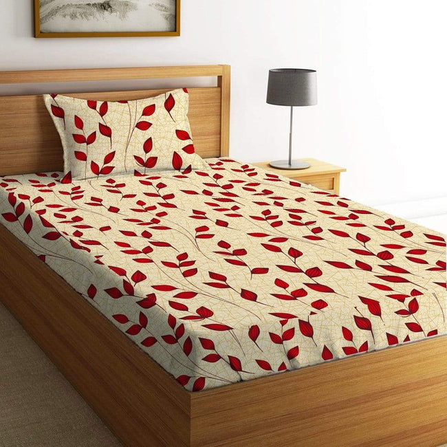 BELLA CASA FASHION BEDSHEET Rosemary Single Bedsheet Set 220 TC 100% Premium Cotton Red Colour [Pack of 2 Bedsheet Set]