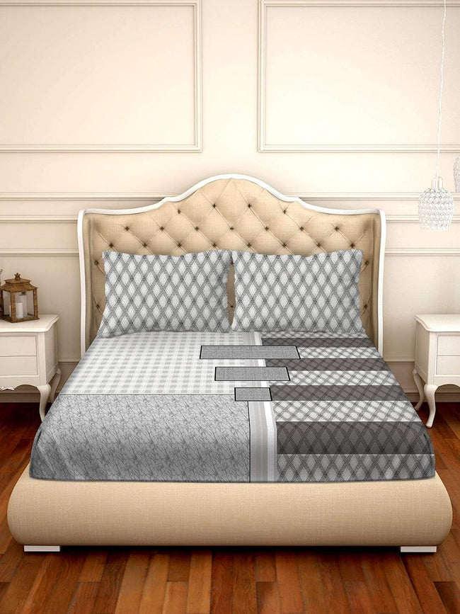 BELLA CASA FASHION BEDSHEET Shades of Shraddha Double Bedsheet Set Super King Size 300 TC 100% Cotton Grey Colour