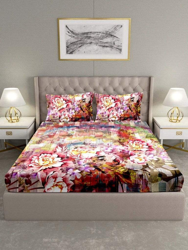 BELLA CASA FASHION BEDSHEET Triton Double Bedshseet Set King Size Cotton Red Colour