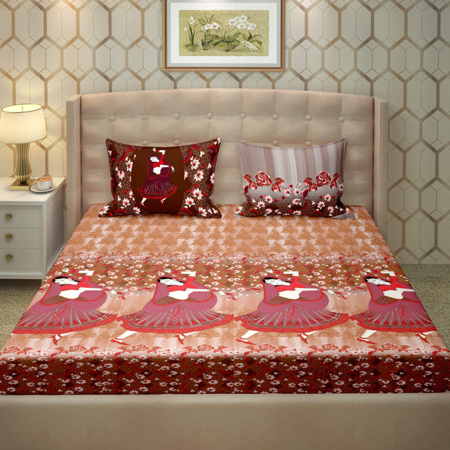BELLA CASA FASHION BEDSHEET Vogue Double Bedsheet Set Super King Size 250 TC 100% Cotton Coral Colour