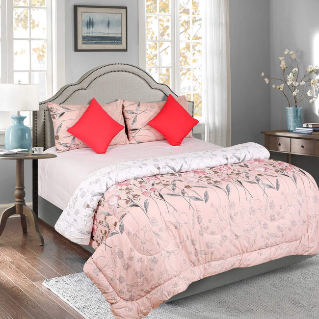 BELLA CASA FASHION Comforter Bella Casa Majestic  5 PC Reversible Comforter Set(1 Double Comforter with 2 Pillow Covers & 2 Cushion Covers) King Size 144 TC Cotton Multi Colour