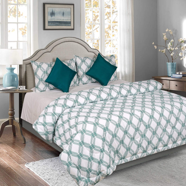 BELLA CASA FASHION Comforter Bella Casa Majestic  5 PC Reversible Comforter Set(1 Double Comforter with 2 Pillow Covers & 2 Cushion Covers) King Size 144 TC Cotton Teal Colour