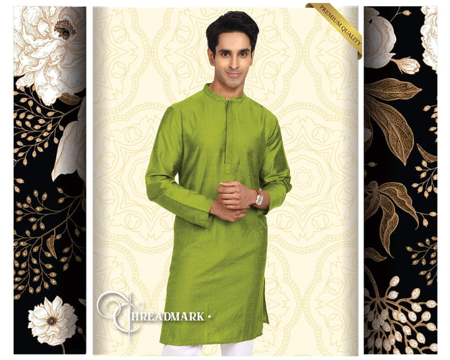 BELLA CASA FASHION KURTA S Men's Solid Green Kurta by Threadmark