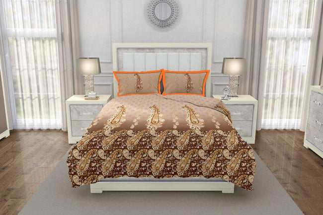 Bella Casa Fashion & Retail Ltd BEDSHEET Italian Designer Double Bedsheet Set Super King Size 350 TC 100% Cotton Brown Colour