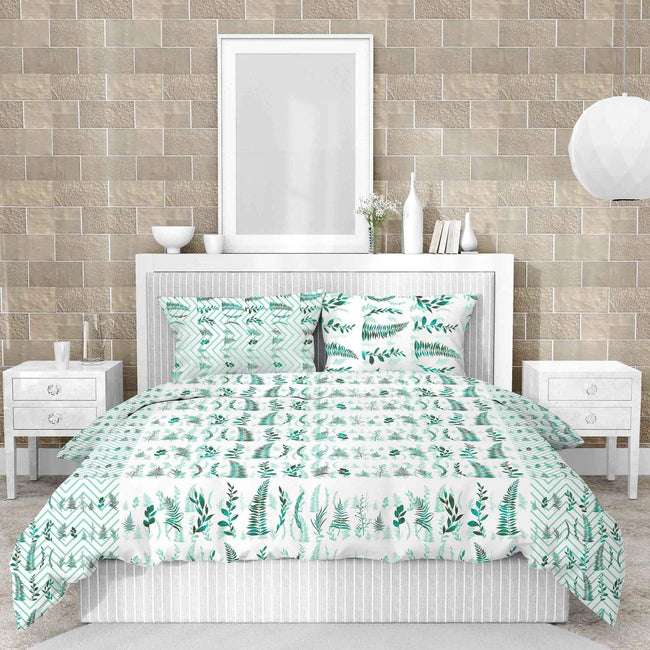 Bella Casa Fashion & Retail Ltd BEDSHEET White Lilly Double Bedsheet Set King Size 210 TC 100% Cotton Blue Colour