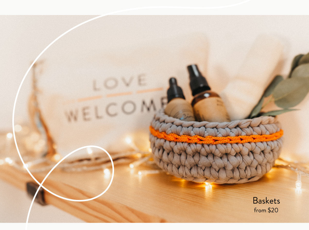 Love Welcomes crochet baskets made by women who are refugees