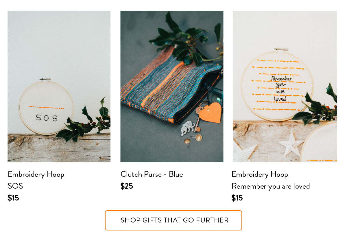 Gifts that go further - embroidered hoops and hand woven clutch purse