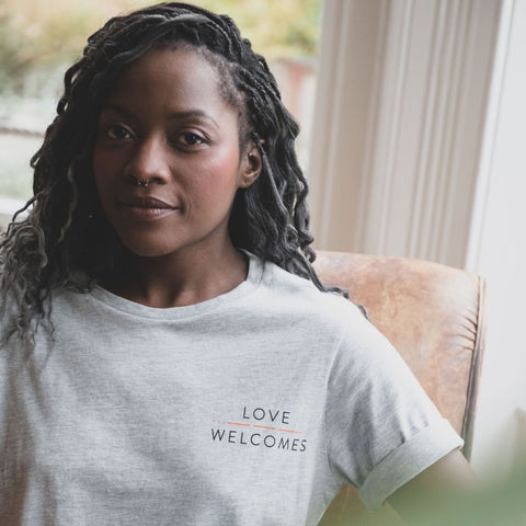 Love Welcomes Grey Marl Ladies Elbow Tee