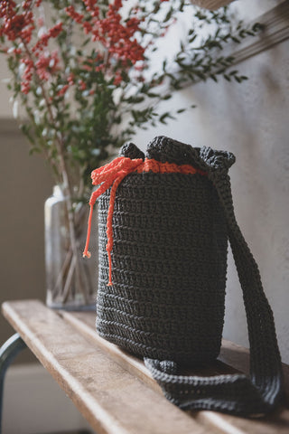 Crocheted Shoulder Bag - Gray
