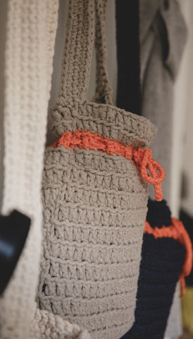 Crocheted Shoulder Bag - Tan