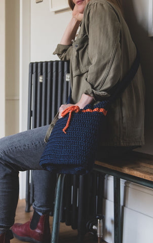 Crocheted Shoulder Bag - Blue