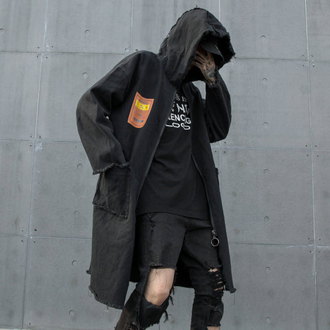 Extra long Hooded jean trench coat for men Black Loose Zipper Punk rock Hiphop Denim outerwear Autumn Winter