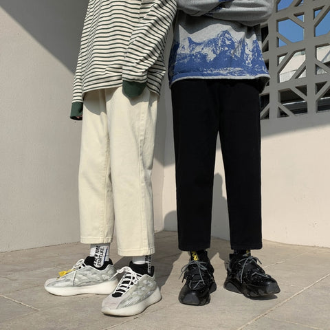 Spring Straight Pants Men's Fashion Solid Color Cotton Casual Pants Men Streetwear Wild Loose Hip Hop Trousers Mens S-XL