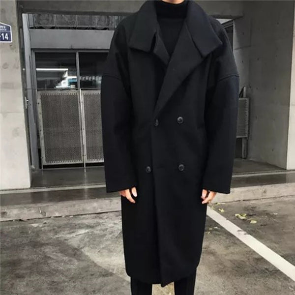 2018 Winter Men's Fashion Trend Wool Blend Thicken Parkas Loose Cashmere Long Coats Casual Black/Grey Overcoat Windbreaker M-XL