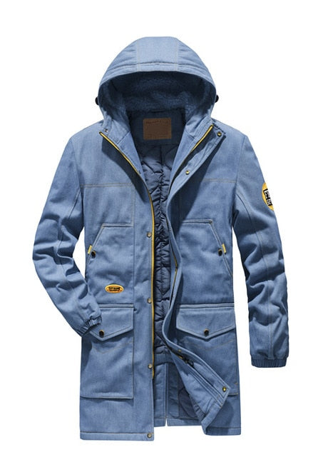 2019 New Long parka man coat thicken winter jacket for men fashion brand denim jacket men's jeans jacket plus size 4XL