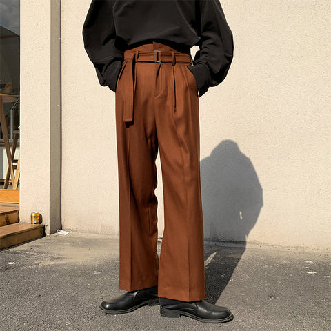 Men High Waist Loose Casual Wide Leg Pant with Belt Male Women Streetwear Vintage Harem Trousers Straight Suit Pants