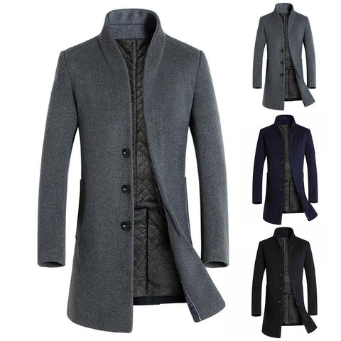 Men Winter Long Sleeve Stand Collar Buttons Pockets Warm Woolen Trench Coat Business Casual Trench Coat Jacket Men