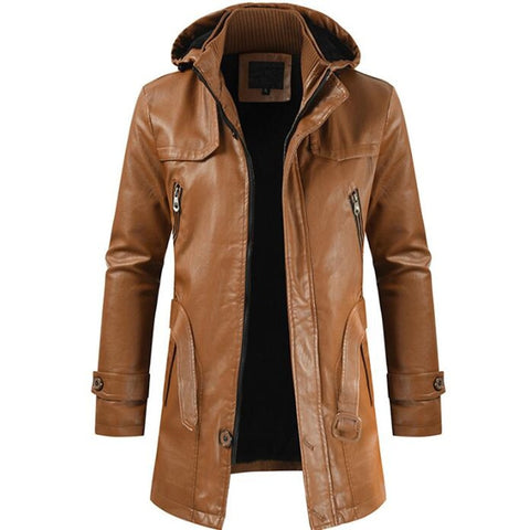 new men's casual fashion PU leather hooded slim young men's motorcycle leather coat