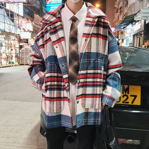 Korean version of ins plaid woolen coat men's winter trend chic trench coat loose super fire cec thickened woolen coat