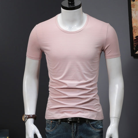 Solid Color Thick Cotton T Shirts Men Clothes Slim Fit Round Neck Undershirt Pink Blue Summer Tee Short Sleeve Underwear Soft