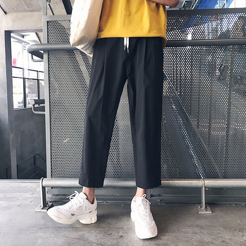 2019 Summer Aesthetic Fashion New Trend Pure Color Simple Loose Straight Tube Casual Pants Men