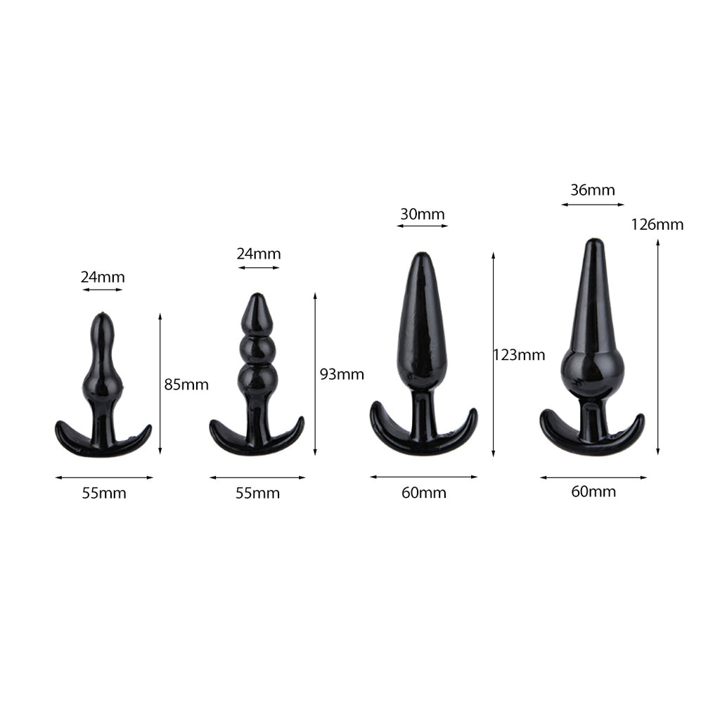 4 Pack Silicone Anal Butt Plug Ass Bum Beads Trainer Kit Sub BDSM Female Sex Toy