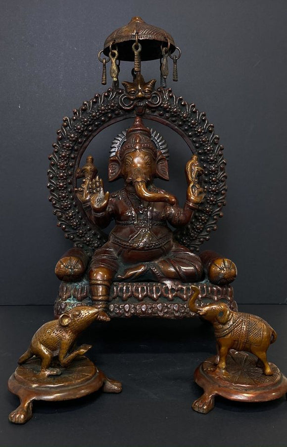 Bronze Ganesh Sculpture along with Elephant and Mouse
