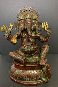 Solid Bronze Trimukha Ganesha Sculpture