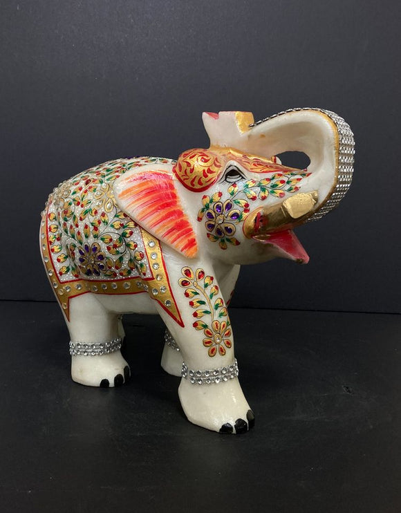 Marble Elephant Engraved with Silver Stones and Hand Printed Design