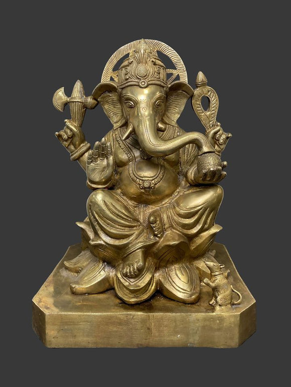 Gold Patina Bronze Engraved Ganesha Sculpture with Golden Mouse