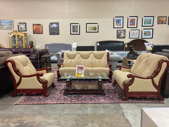 3 Piece Show Wood Cream / Cherry Brown Sofa Set