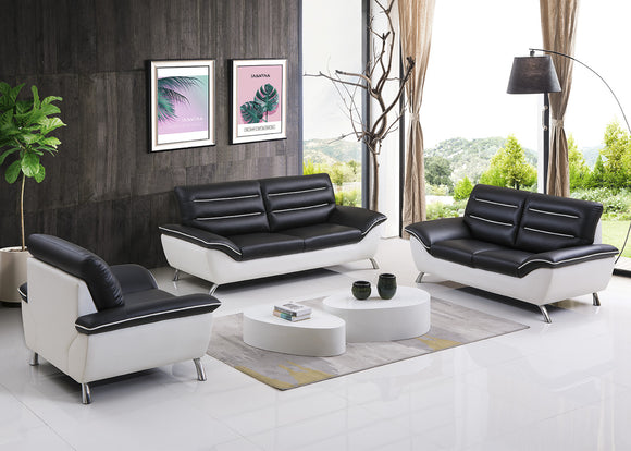 3 Piece Leather Black and White Sofa Set