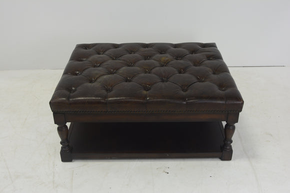 Tufted Brown Raw Hide Leather Ottoman