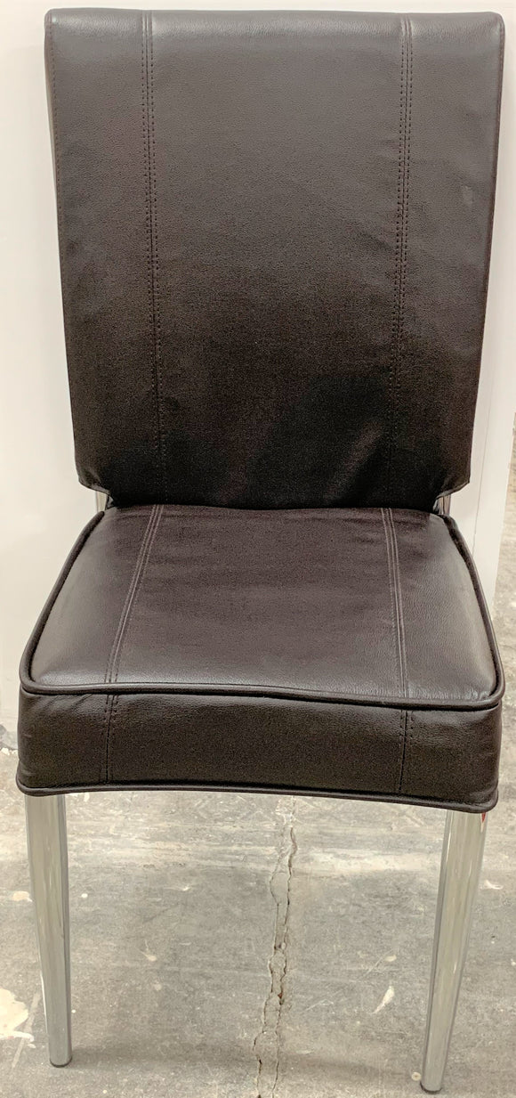 Leather Dining Chairs with Steel Legs