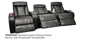 Top Grain Leather Sitting 3 Power Recliner with 4 Cupholder Home Theatre Furniture