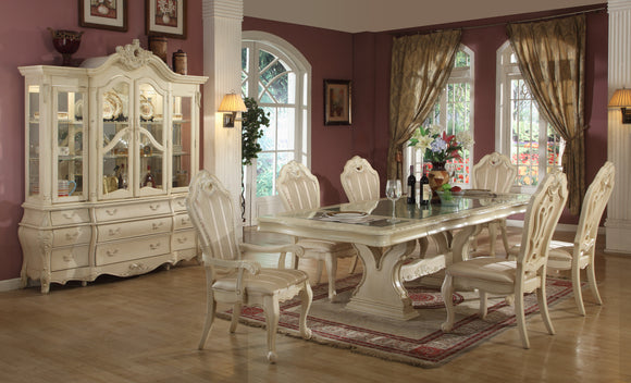 Solid Wood Ivory Dining Set With Glass Top, Leaf, Hutch and Buffet