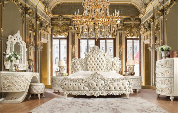 8 Piece Royal Queen Tufted White Bedroom Set