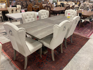 Solid Wood Dining Set with Royal Tufted Chairs
