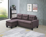 Green L Shaped Fabric Sectional Sofa with Reversible Chaise