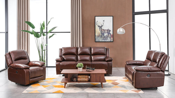 3 Piece Brown Leather Sofa Set