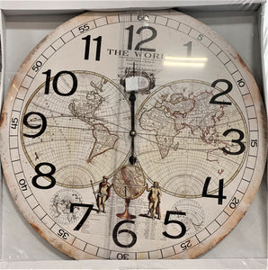 Ivory Clock with the World Map