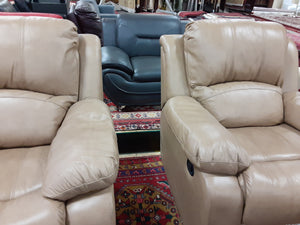 Beige Leather Power Armchair / Recliner