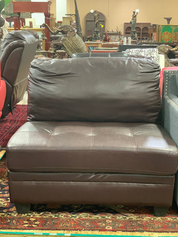 Brown Leather Tufted Chair