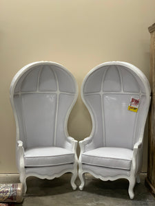 White Leather High Moon Chair