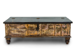 Teak Wooden Vintage Chest with Green Patina