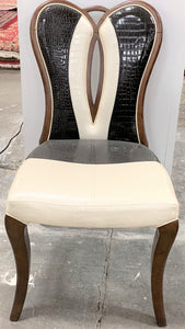 Solid Wood Black & White Leather Chair