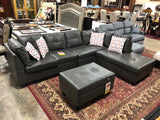 L Shaped Leather Sectional with Cushions