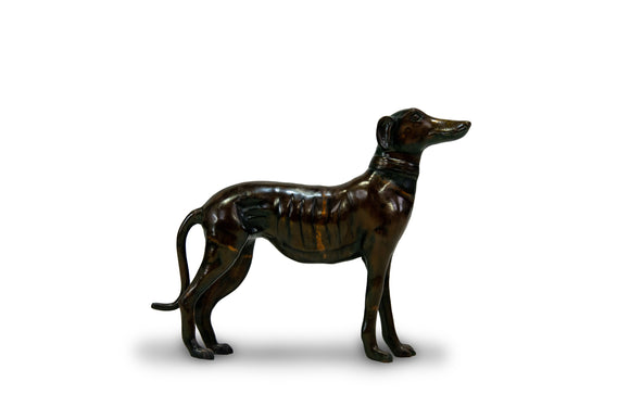 Midcentury Bronze Greyhound Sculpture in Brown Patina