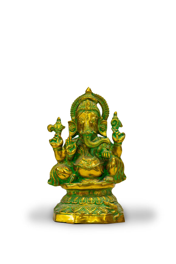 Lord Ganesh Bronze Statue with Green Patina